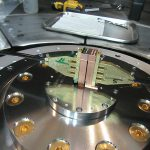 Complete target assembly inside the Z machine for the high-pressure materials experiments