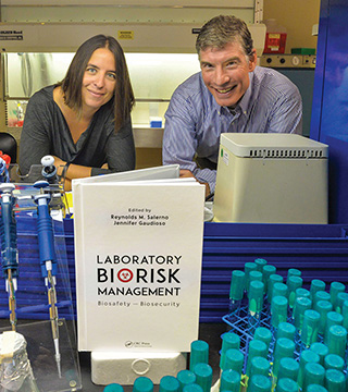 Jennifer Gaudioso and Ren Salerno are editors of a new book, Laboratory Biorisk Management, that aims to aid hospitals and bioscience labs assess, mitigate, and manage biological risks.(Photo by Randy Montoya)