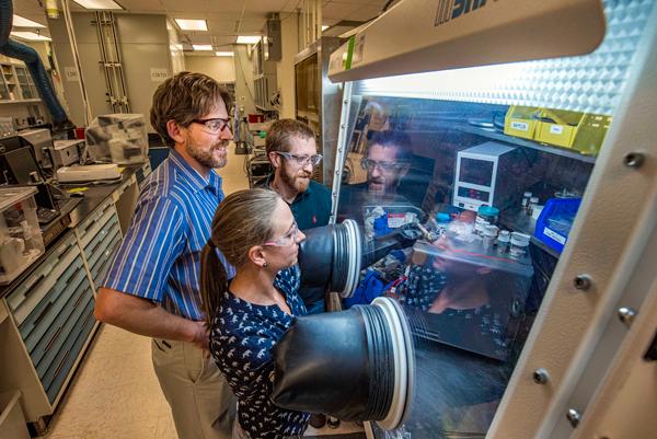 Researchers Leo Small, Erik Spoerke and Martha Gross develop new sodium batteries
