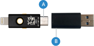 An image showing YubiKey 5ci and USB Type-B male adapter